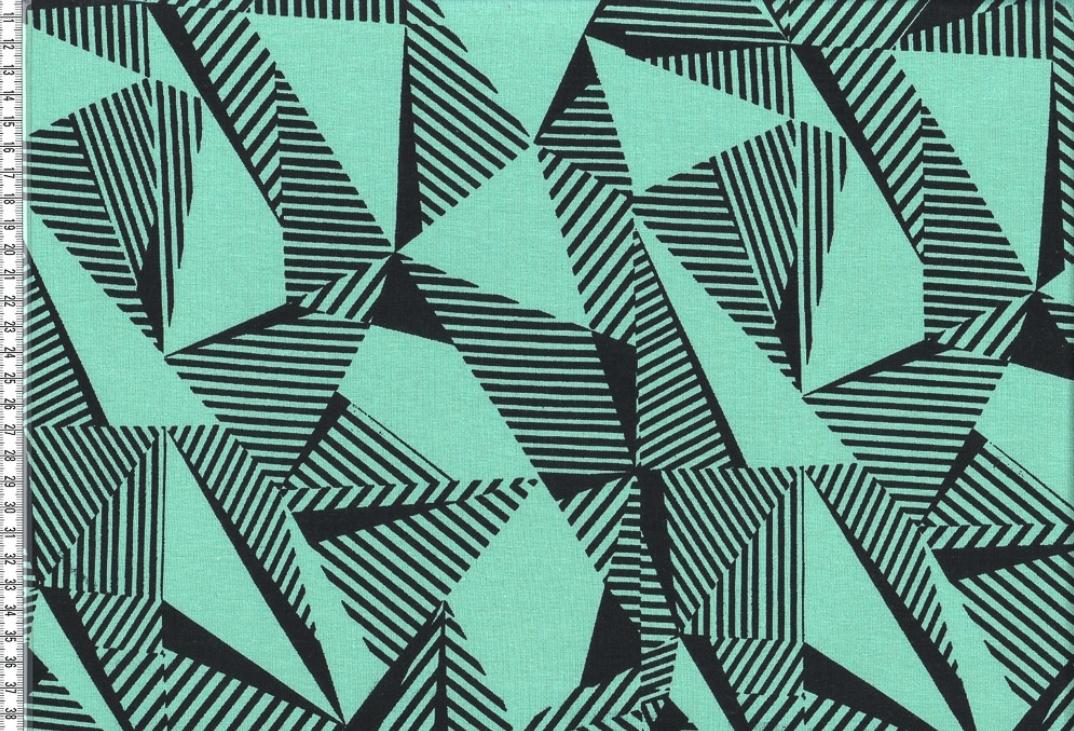 jersey malo geometrische muster mint schwarz. Black Bedroom Furniture Sets. Home Design Ideas